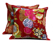 2 Red Home Décor Pillowcase Traditional Kantha Stitch Floal Throw Pillow Cushion Cover