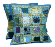 5 Blue Embroidery Sequin Patchwork Indian Sari Throw Pillow Krishna Mart Cushion Covers