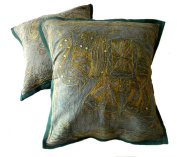 5 Green Handcrafted Indian Sequin Embroidery Traditional Elephant Throw Pillow Cases Toss Cushion Covers