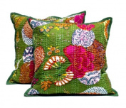 5 Green Handmade Decorative Pillowcase Indian Kantha Floal Throw Pillow Cushion Cover