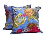 5 Light Blue Handmade Pillowcase Traditional Kantha Stitch Throw Pillow Cotton Cushion Covers