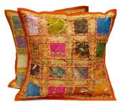 5 Orange Embroidery Sequin Patchwork Indian Sari Throw Pillow Krishna Mart Cushion Covers