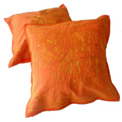 5 Orange Handcrafted Indian Sequin Embroidery Ethnic Elephant Design Throws Pillow Cases Toss Cushion Covers