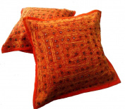 5 Orange Mirror Work Embroidery Indian Sari Throw Pillow Toss Cushion Covers