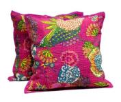 5 Pink Handmade Pillowcase Traditional Kantha Stitch Throw Pillow Cotton Cushion Cover