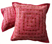 5 Pink Mirror Work Embroidery Indian Sari Throw Pillow Toss Cushion Covers