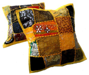 5 Yellow Embroidery Sequin Patchwork Indian Sari Throw Pillow Cushion Covers