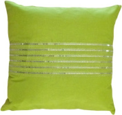 Decorative Silver Sequins Stripes & Zig Zag Embroider Throw Pillow COVER 46cm Lime Green