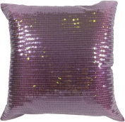 Decorative Transparent Sequins Floral Throw Pillow COVER 46cm Purple