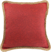 Decorative Hamp Rope Piping Throw Pillow Cover 46cm Burgundy