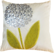 Decorative Silver Sequins Flower With Special Embroidery Leaves Floral Throw Pillow COVER 46cm Cream