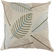 Decorative Leaf Emboirdery Floral Throw Pillow Cover 46cm Green