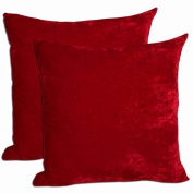 Beauty-Bedding Red 100% Polyester Velvet 95% Feather 5% Down Fill Deco Pillow 18x18