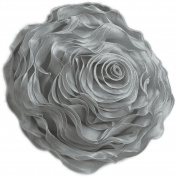 Hayley Rose Chiffon Decorative Throw Pillow - 41cm Round - Silver