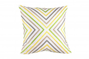 Trina Turk Ikat Zigzag Embroidered Decorative Pillow, 50cm by 50cm , Yellow/Grey