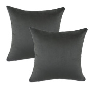 Chooty Passion Suede Charcoal Simply Soft 43cm by 43cm KE Synthetic Down Like Fibre Pillow, Set of 2