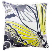 Trina Turk Trellis Black Butterfly Embroidered Decorative Pillow, 46cm by 46cm , Black/Lime