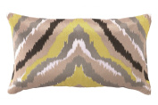 Trina Turk Ikat Yellow Embroidered Decorative Pillow, 50cm by 30cm , Black/Yellow
