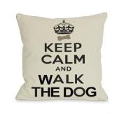 Bentin Pet Decor Keep Calm and Walk The Dog Throw Pillow