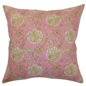 The Pillow Collection Danica Floral Pillow, Red/Pink
