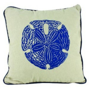 Linen Admiral Sand Dollar Pillow with Navy Blue Square Accent Throw Pillow 38cm x 38cm