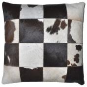 Matador 46cm Dark Brown Leather Hide Hair On Pillow