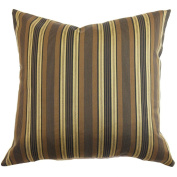 The Pillow Collection Paton Stripes Pillow, Brown/Gold