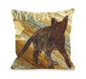 Bentin Pet Decor I Love My Cat Wood Throw Pillow
