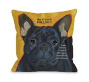 Bentin Pet Decor French Bulldog 3 Throw Pillow, 46cm by 46cm