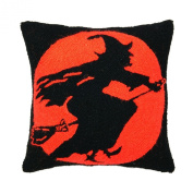 Halloween Flying Witch Throw Pillow, Hooked Wool, 46cm X 46cm