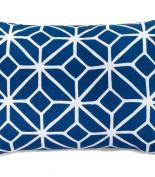 Zodax 46cm Geometric Design Throw Pillow, Square, Navy/White