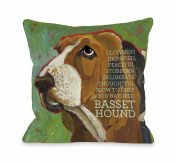 Bentin Pet Decor Bassett Hound 2 Throw Pillow, 46cm by 46cm