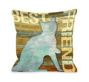 Bentin Pet Decor Best Friend Cat Wood Throw Pillow