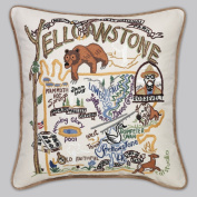 Catstudio Hand-Embroidered Throw Pillow - Yellowstone