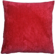 Pillow Decor - Wide Wale Corduroy Red 22x22 Throw Pillow