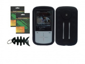 iShoppingdeals - Black Protective Skin Case + Screen Protector + Fishbone Keychain for Sandisk Sansa Fuze+ Plus 4GB , 8GB , 16GB