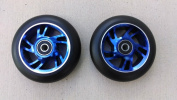DIS 100mm Black on Blue Soft Landing Metal Core Scooter Wheels (Pair - 2 wheels) with Bearings and Spacers Installed
