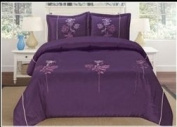 Luxurious Purple Queen Faux Silk Embroidery Duvet Comforter Cover Set