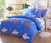 Cliab Home Textile Dinosaur Bedding Set Kids Queen Size Bedding Sheets 100% Cotton Boys Bedding Queen Duvet Cover Set 4pcs