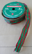 4.6m x 5.1cm Holiday Ribbon - Green/Red with Golden edges