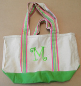 """Island Republic Canvas Carrying Bag Purse with """"M"""" Embroidered on Front"""