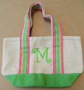 """Island Republic Small Canvas Carrying Bag Purse with """"M"""" Embroidered on Front"""