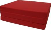 Brand New Red Shikibuton Trifold Foam Beds 7.6cm Thick X 70cm Wide X 190cm Long, 0.8kg high density resilient white foam, Floor Foam Folding Mats.