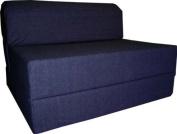 Denim Sleeper Chair Folding Foam Bed Sized 15cm Thick X 80cm Wide X 180cm Long, Studio Guest Foldable Chair Beds, Foam Sofa, Couch.