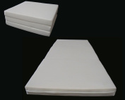 Brand New White Shikibuton Trifold Foam Beds 7.6cm Thick X 70cm Wide X 190cm Long, 0.8kg High Density Resilient White Foam, Floor Foam Folding Mats.