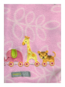 Elephant, Tiger & Giraffe 'Pink' Baby Blanket By Blankets & Beyond
