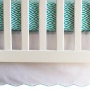 Oliver B Crib Skirt - White/Turquoise