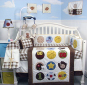Super Sport Fan (cream and brown) Baby Crib Nursery Bedding Set 14 pcs included Nappy Bag with Changing Pad & Bottle Case