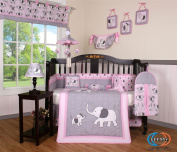 Boutique Pink Grey Elephant 13pcs Crib Bedding Sets
