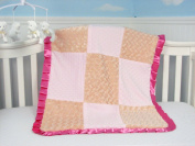 New Boutique Peach Roses and Pink Minky Chenelle Baby Blanket